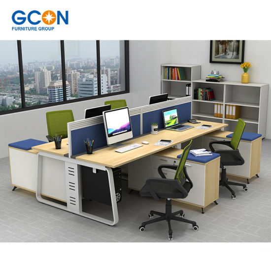 Aluminum Office Partition 4 Person Office Desk Small Cubicle
