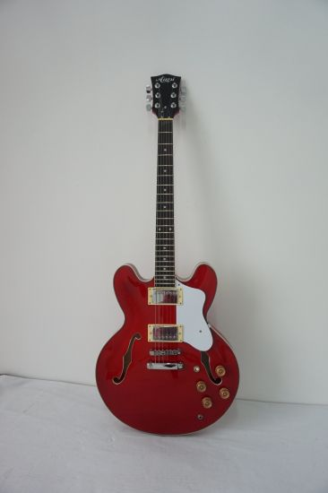 Cheap Price Arch Body Wine Colour Electric Jazz Guitar for Sale pictures & photos