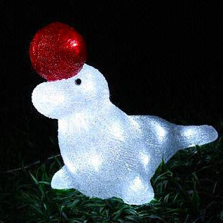 Outdoor Christmas Holiday Decoration LED Solar Seal Motif Acrylic Light