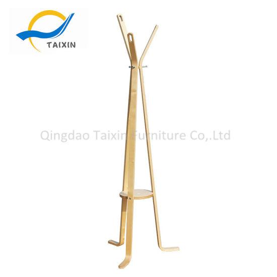 Plywood Coat Rack Clothing Hanger with Hooks