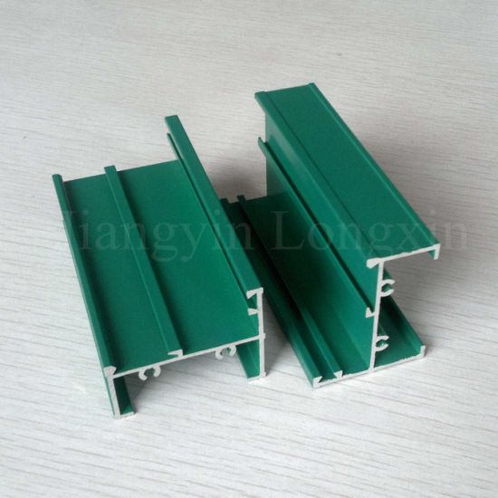 Green Powder Coated Aluminium Profile for Windows pictures & photos