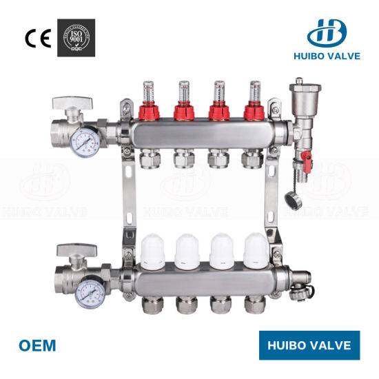 Stainless Steel 304 2-12 Loops Floor Heating Manifold with Flow Meter pictures & photos