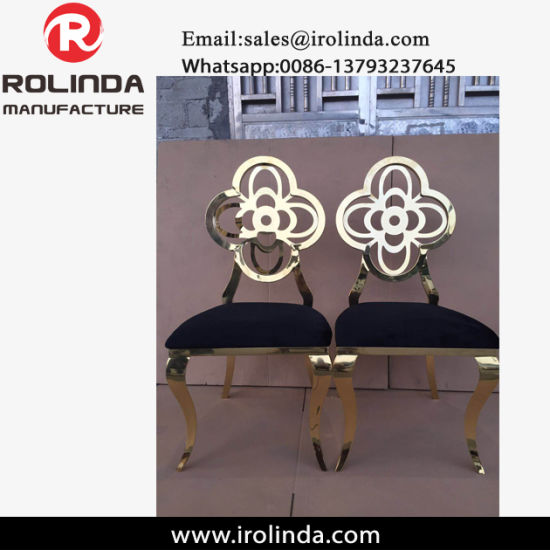 New Event Wedding Hotel Golden Stainless Steel Flower Dining Chair pictures & photos
