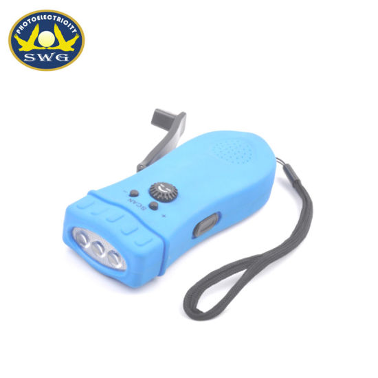 Multifunctional 3 LED Hand Crank Dynamo Emergency Light with FM Radio and Alarm pictures & photos