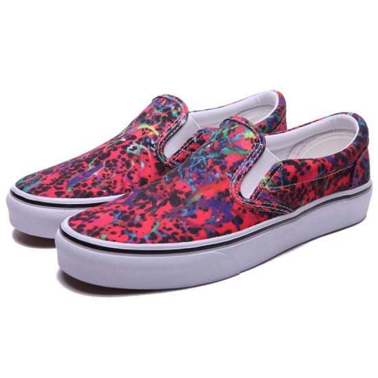 Fuchsia Patterned Slip on Canvas Upper Deck Shoes for Women/Female
