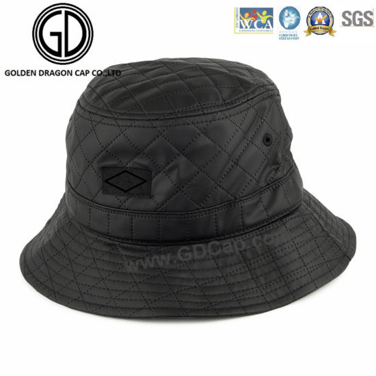 40f81fa3360 2016 New Style PU Leather Diamond Quilted Black Bucket Hat pictures   photos