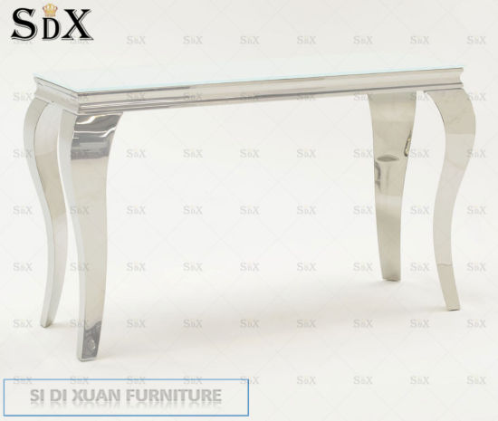 Glass Furniture Silver Metal Modern Console Table Dining Furniture