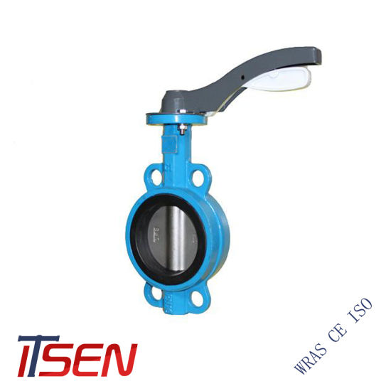 DIN Pn10/16 Cast Iron Wafer Type Center Line Butterfly Valve with Lever / Handle Opreated