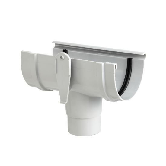 UPVC DIN Standard Rainwater Fittings 125mm Roof Gutter Straight Tee pictures & photos