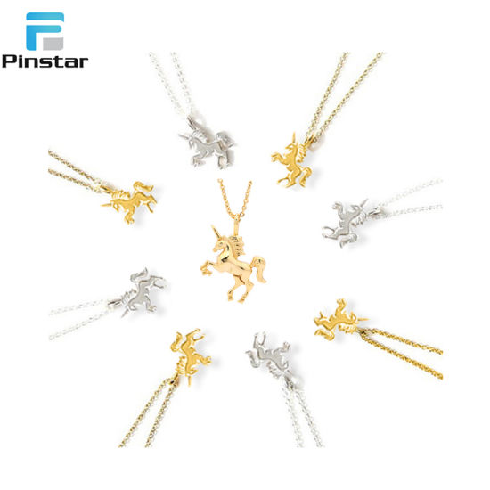 Gold Silver Plated Unicorn Animal Pendant Necklace for Women