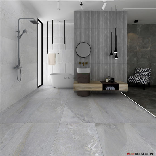 China Bathroom Light Grey Concrete Porcelain Flooring And Wall