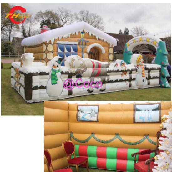6X4m Good Quality Christmas Decoration Giant Inflatable Santa Grotto Inflatable Christmas Santa House Tent
