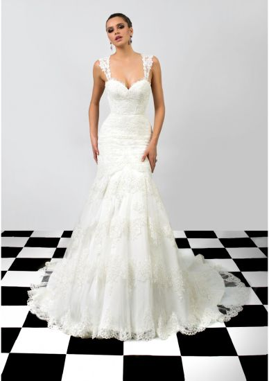 Lace Sweetheart Applique Open Back Mermaid Wedding Dress Prom Gown
