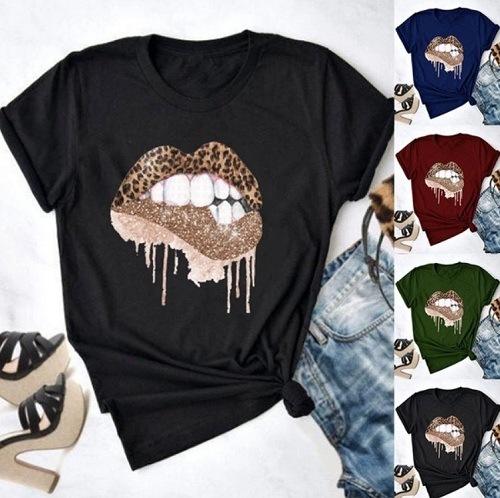 Female European and American Lip Print Top Women Round Neck Short Sleeve T-Shirt