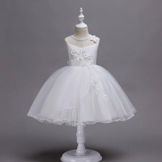 New Children's Pink Princess Fluffy Sleeveless Wedding Dress