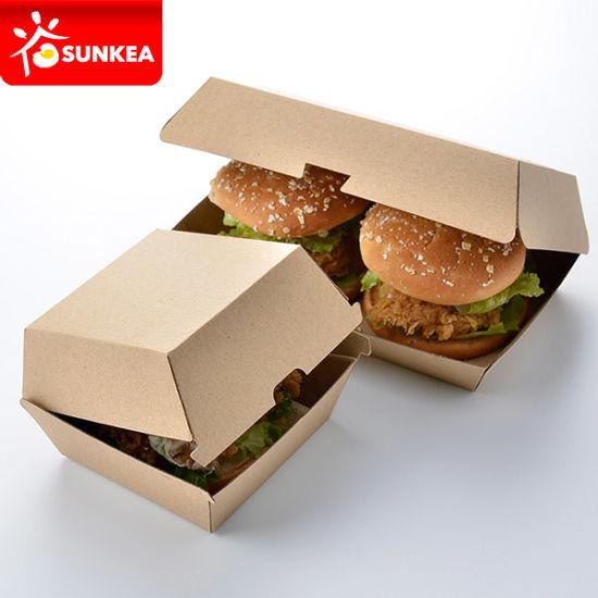China Disposable Custom Packaging Paper Burger Clamshell
