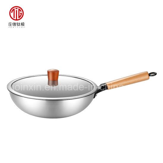 Ultralight Metallic Grey Titanium Wok Cookware Chinese Frying Pan Wok