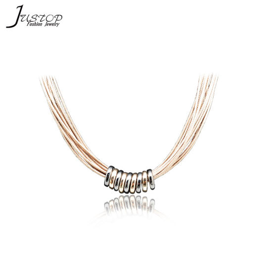 Wax Cord Fashion Women Necklace Accessories with Alloy Round Ring