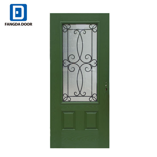 Double 2 Panel Small Oval Glass Fiberglass Insulated Exterior Entry Front  Door