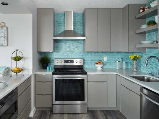 Furniture Gray Lacquer Kitchen Cabinet