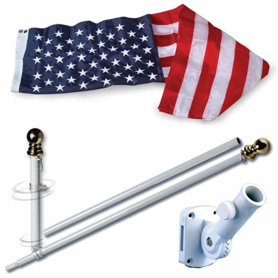 6 FT White Steel 3X5FT USA Flag Pole Gold Ball Top Wall Mount Bracket pictures & photos