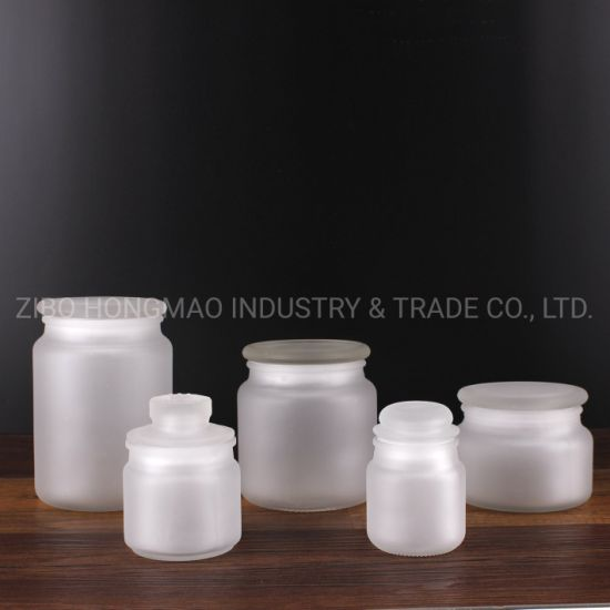 Round Wholesale 100ml 150ml 300ml 500ml 700ml Glass Candle Container Holder Matte White Frosted Candle Jar with Lid