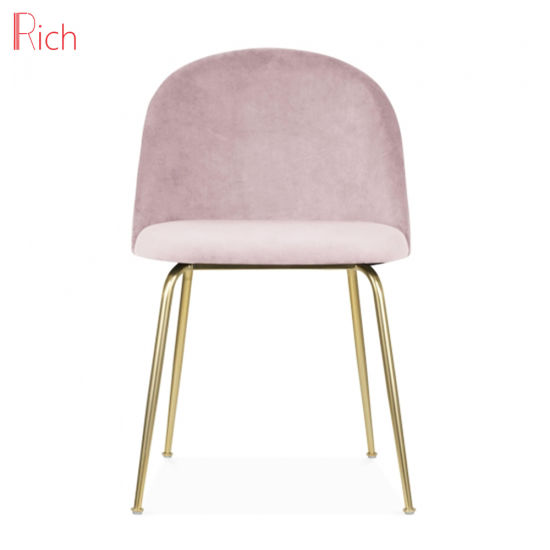 Nordic Style Home Furniture Soft Pink Velvet Chair Restaurant Use Stainless Steel Gold Finish Dining Chair