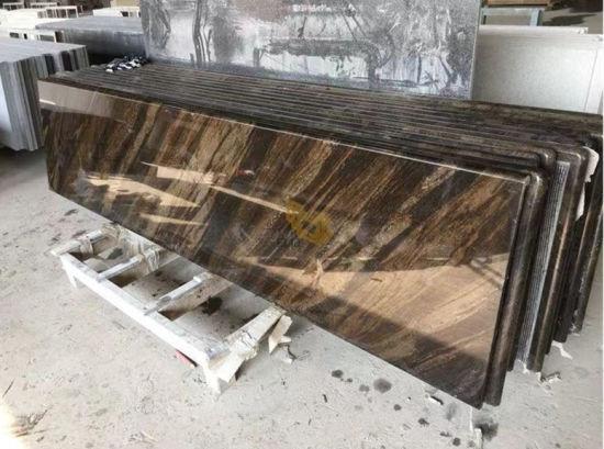 Prefab Fantasy Brown Granite Kitchen Countertop for Hotel Project