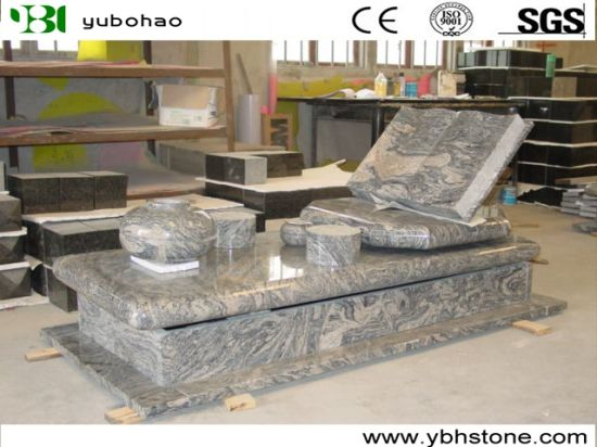 Chinese Juparana/European Tombstone with Cross Shape Carving Granite Headstone
