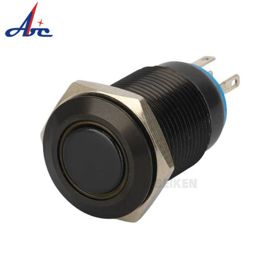 16mm 110V BLUE Led Lighted Push Button Metal ON-OFF Lock Switch Connector O-ring