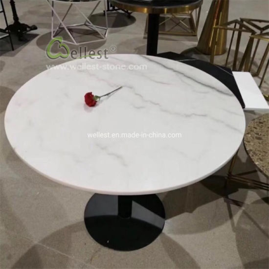 White Marble Round Coffee Table Bar, Marble Round Table Top