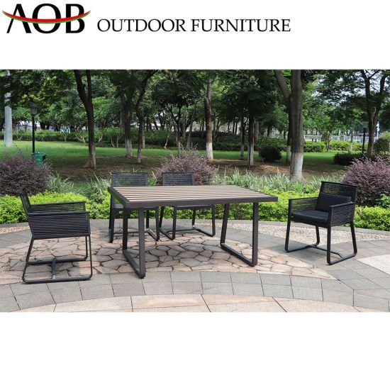 Modern Chinese Outdoor Living Leisure Garden Sets Hotel Restaurant Rope Woven Chair Rectangular Table Dinign Furniture