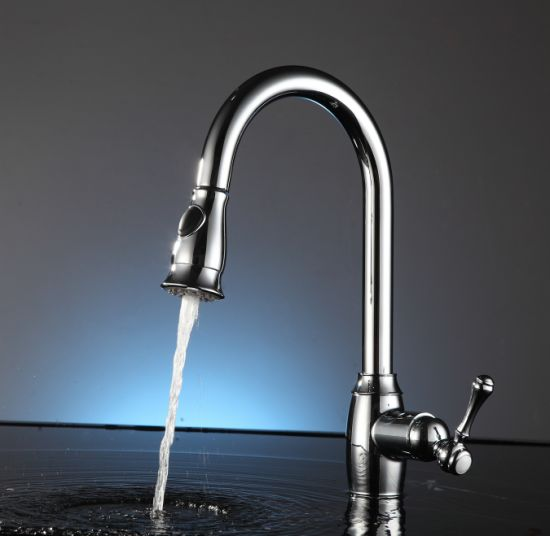 Single Handle One Hole Pull Out Down Kitchen Sink Faucet