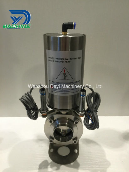 Food Grade Dn50 Pneumatic Welding Butterfly Valve with Sensor pictures & photos