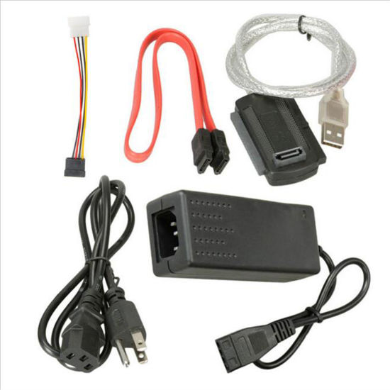 USB 2.0 to IDE SATA 2.5 3.5 Hard Drive Converter Cable Kit with Power Supply
