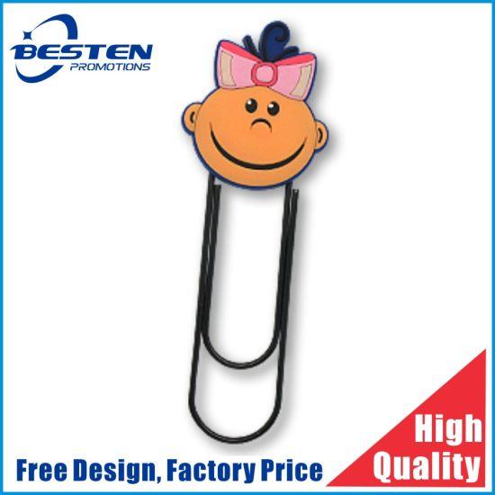 Custom Bookmark Shape Cute Rubber Soft PVC Metal Printed Paper Clip