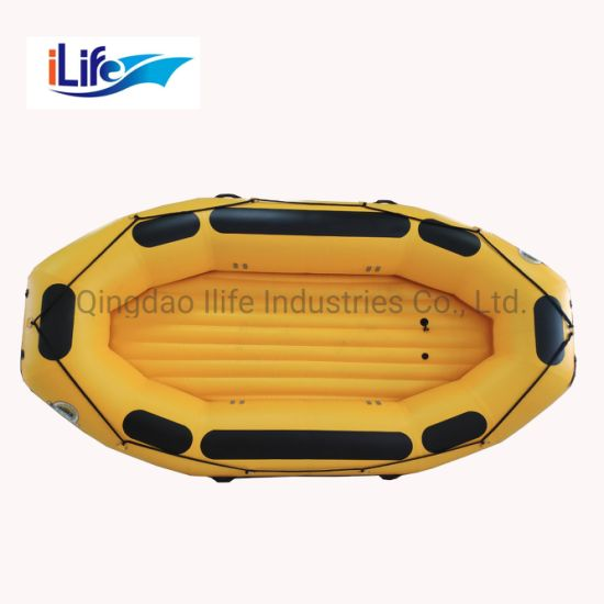 Ilife 7 Persons 3.8 M River Sport Life Raft PVC/Hypalon Inflatable White Water Raft Boat Fishing Whitewater River I-Beam Floor Self Bailing Paddle Rafting