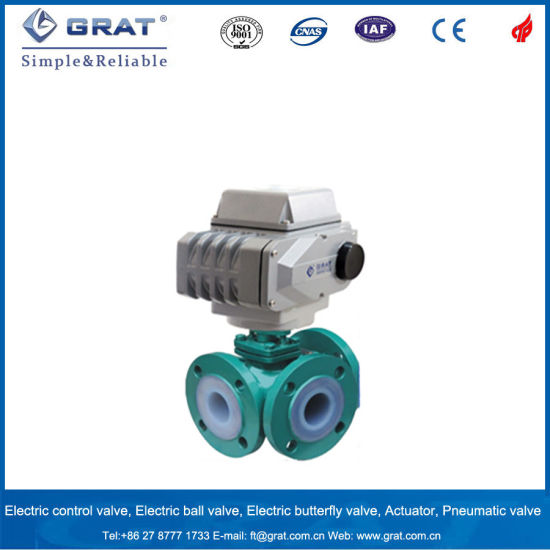 PTFE Lined Cast Iron Electric Ball Valve for Naoh Solution Control pictures & photos