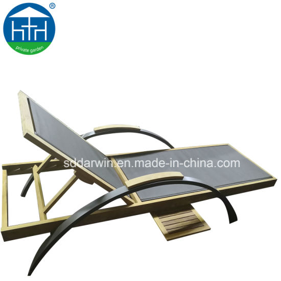 High-End Outdoor Teak Wood Chaise Lounge Furniture for Beach