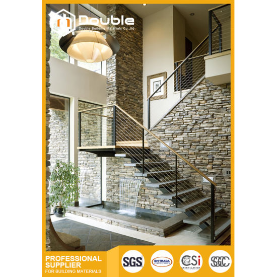 Wire Railing Interior | China Indoor Interior Wood Straight Staircase With Stainless Steel