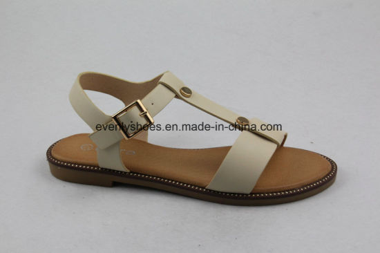 T-Strap Open Toe Flat Sandal Fashion Lady Shoes pictures & photos
