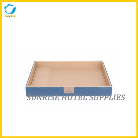 Room Accessories Cool Blue PU Leather Service Tray pictures & photos