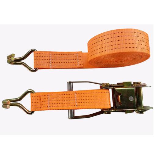 Double J Hooks Cargo Lashing Belt for Truck Ratchet Buckle/50mm Straps Tie Down with 100% PE Belt Strap