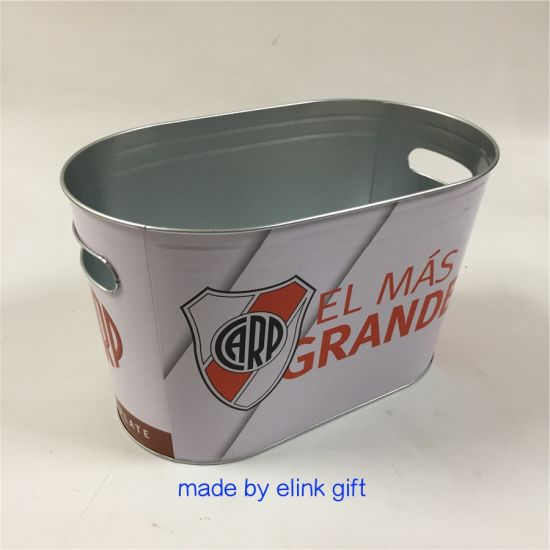 Customized Food Grade Metal Galvanized Metal Tin Beer Cooler Oval Ice Bucket for 12 Beer Bottles