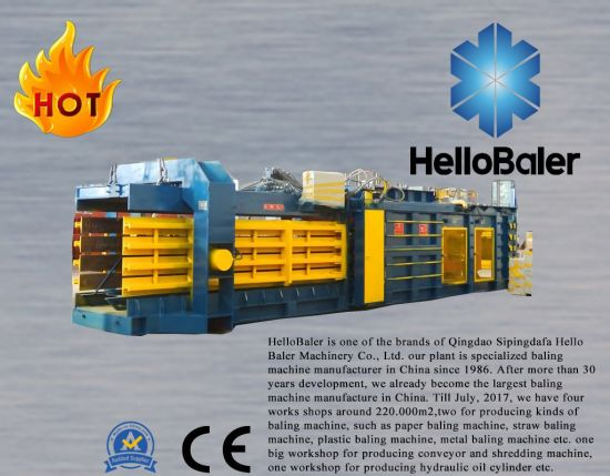 Automatic waste paper, cardboard, carton, straw, textile, cotton, metal, plastic bottles strapping pressing baler