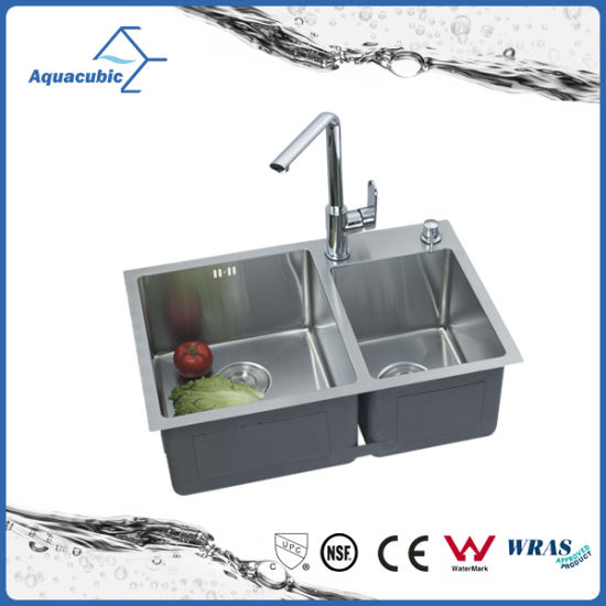 China Handmade Double Drainer Bowl Round Kitchen Sink (ACS7243A2 ...