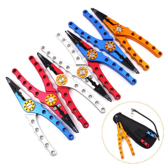 """7.9/"""" Anodized Aluminum Fishing Pliers Line Tackle Tool Cutting Hook Remover+Bag"""