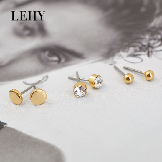 Round Stainless Steel Crystal Alloy Drop Fashion Earring Set pictures & photos