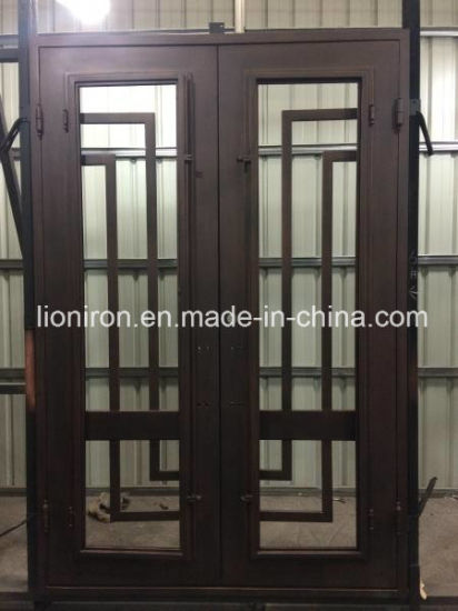 China Commercial Metal Material Double Entry Door Iron Front Doors