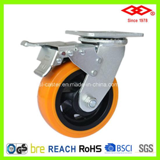 200mm Swivel Plate with Brake Yellow PU Wheel Castor (P701-36FA200X50S)